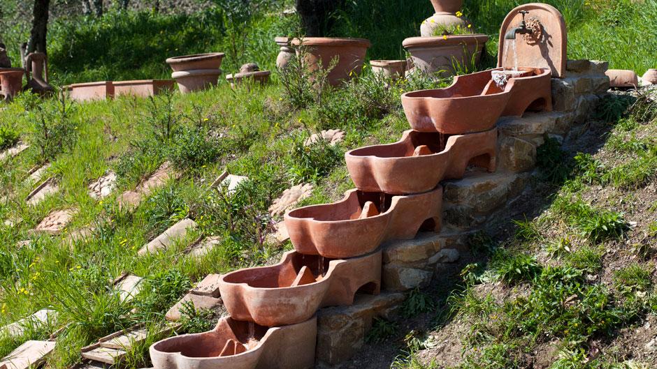 Flowforms in Artenova's garden.